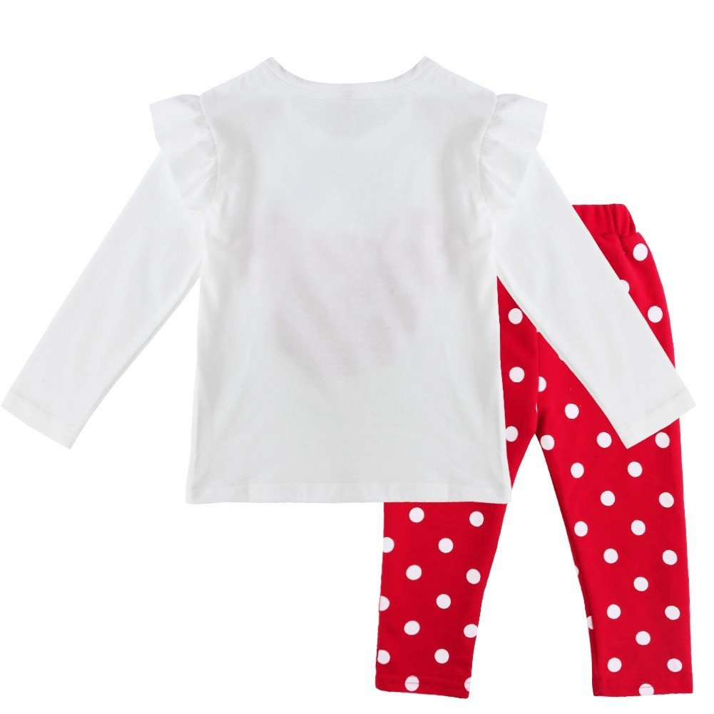 8566646c8cca1 TiaoBug 2pcs Ensemble de Vêtement Bébé Fille Cartoon T-Shirt Manches Longues  Polka Dots   Leggings Pantalon à Pois 9 Mois-5 Ans  Amazon.fr  Vêtements et  ...