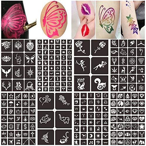 (Body Face Painting Stencils Kit for Kids, Henna Glitter Tattoo Stencils Kit, Reusable Temporary Tattoo Stencils (8 Sheets 218 Design))