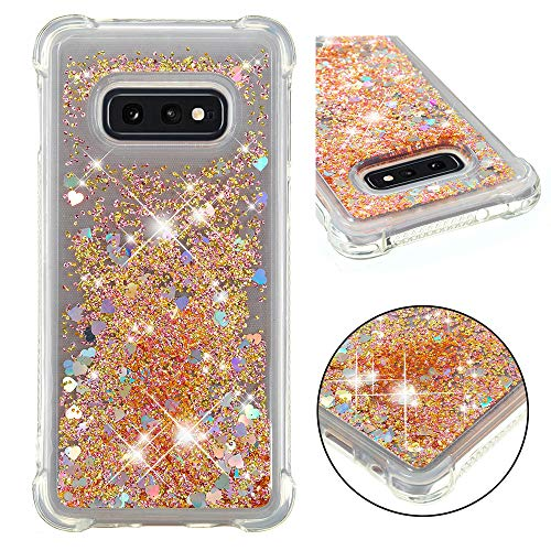Cfrau Liquid Glitter Case with Black Stylus,Women Girls Luxury Love Hearts Series Diamond Bling Floating Quicksand Shockproof Soft TPU Case Compatible with Samsung Galaxy S10E,Gold