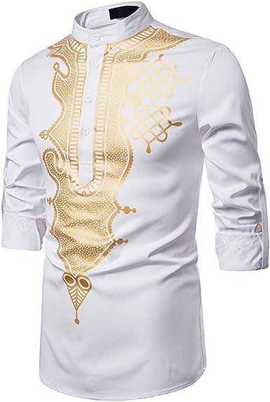 Camisa para hombre Sunfany, manga 3/4, cuello redondo, para ...