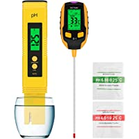 Esimen High-Precision Water Hydroponic PH Meter and 4-in-1 Soil Tester, Light Intensity,Temperature, Soil PH, Humidity…