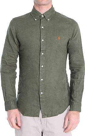 Polo Ralph Lauren Mod. 710794142 Camisa Lino Slim Fit Hombre Verde L: Amazon.es: Ropa y accesorios