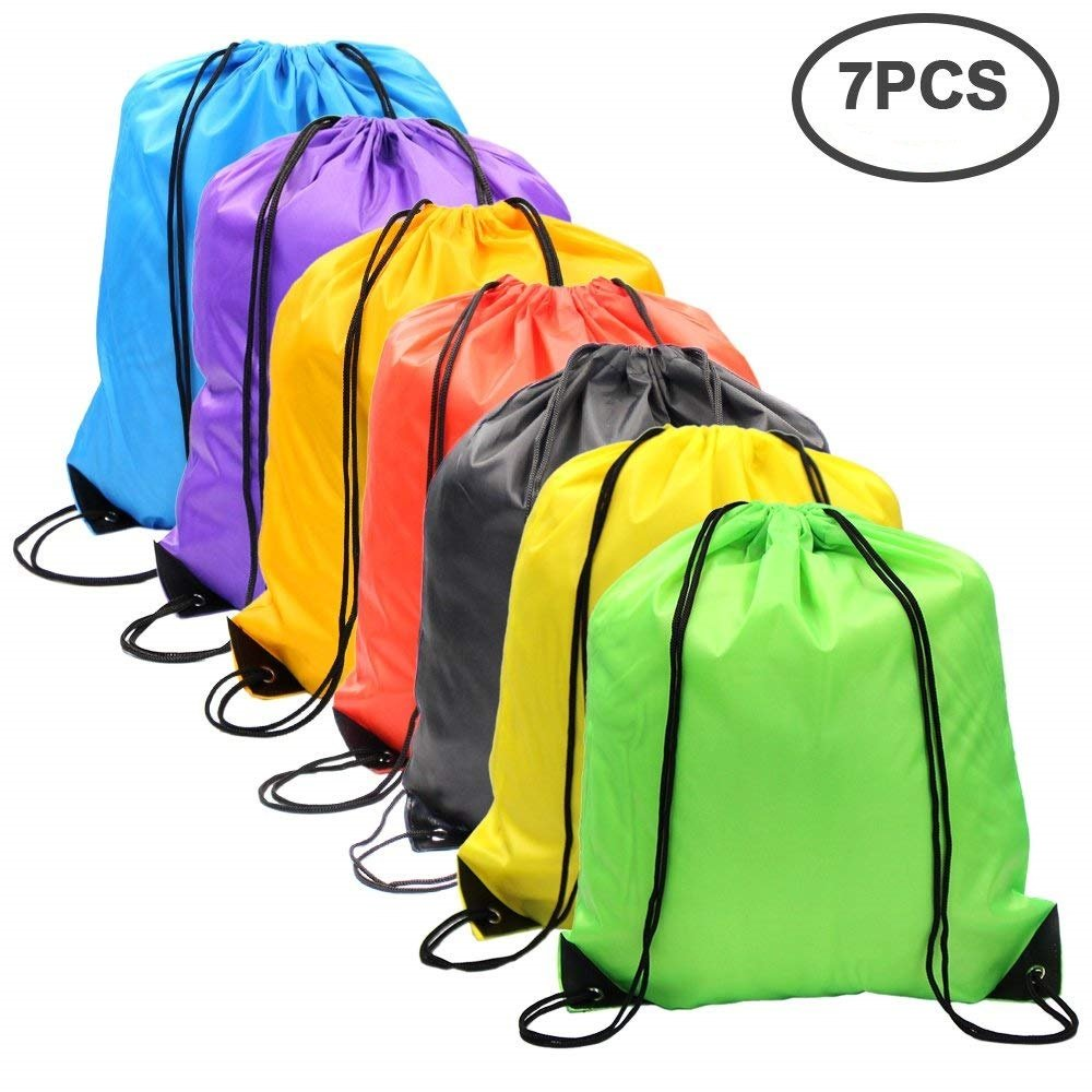 7 Pack Drawstring Backpack Bag Nylon Folding Shoulder Tote Sack Bags for Picnic Gym Sport Beach Holiday School Home Travel Storage Use,7 Colors M-Aimee drawstring-7