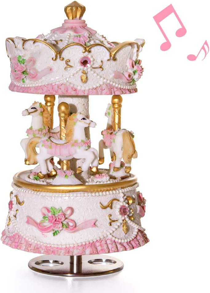 Mr.Winder Musical Carousel Music Box Gift - 3-Horse Classic Decor Castle in The Sky | Best Christmas Valentine's Day Birthday Gifts for Wife, Girls, Women, Kids, Girlfriend, Babies Romantic Girly Art