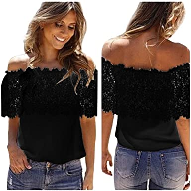 3892b553678b9 Quartly Women Sexy Off Shoulder Lace Crochet Chiffon Tees Shirt Tops Short  Sleeve Loose Summer T