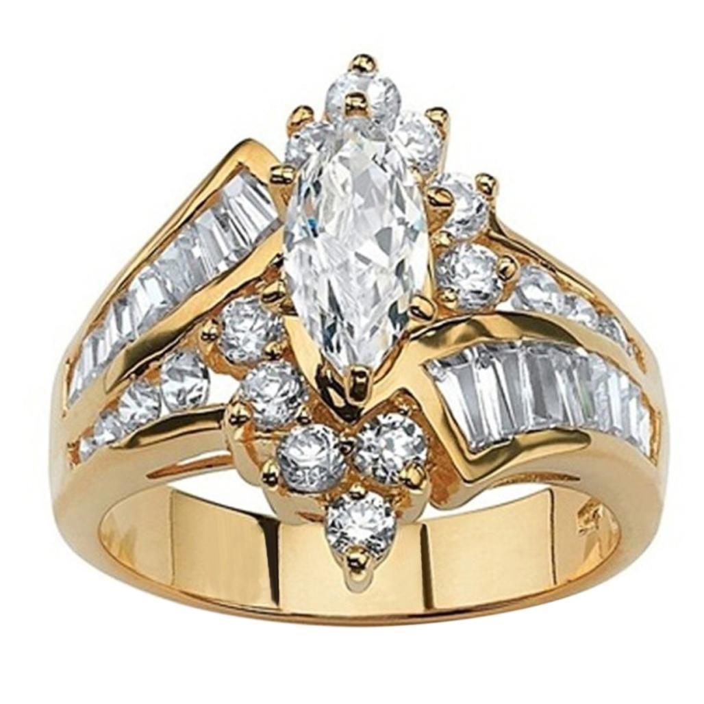 Sinwo Women Hand Jewelry Exquisite Cut Diamond Engagement Anniversary Ring Jewelry (8, Gold)