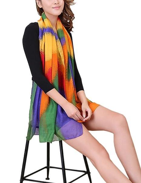250824e8cc92 Bigood Femme Châle 180 90cm Doux Écharpe Vogue Plage Foulard en Voile  Casual Bleu