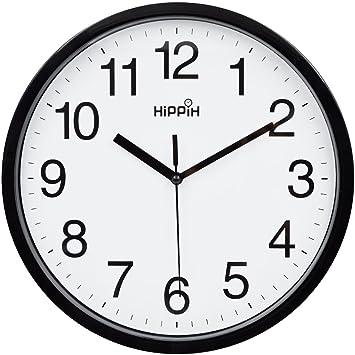 "HiPPiH 10 ""Silent Non-ticking Reloj de pared cuarzo decorativo Digital (negro"