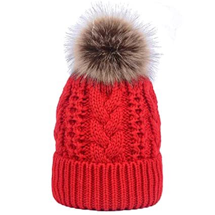 Amazoncom Unisex Double Layer Cashmere Hats Winter Crochet Cable