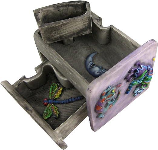 Zeckos Cute Frog Family /& Gecko Puzzle Box Trinket Stash