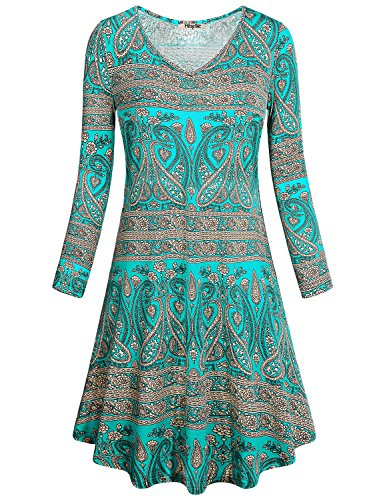 Jersey Print Paisley Dress (Hibelle Flowy Dresses for Women, Green Floral Print Maternity Loose Fit Flared Outfits Stretchy Paisley Pleated Swing Long Tunic Shirts Dress Knee Length to Wear with Leggings 2XL)