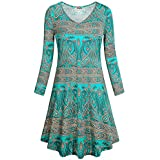 Hibelle Flowy Dresses for Women, Green Floral Print Maternity Loose Fit Flared Outfits Stretchy Paisley Pleated Swing Long Tunic Shirts Dress Knee Length to Wear with Leggings 2XL