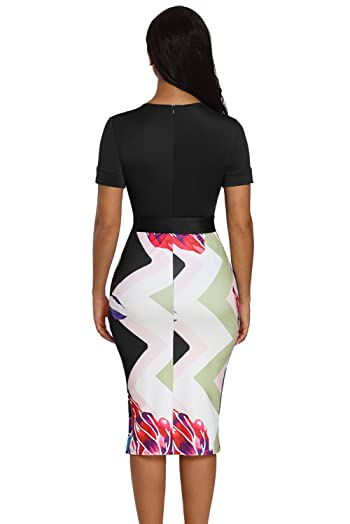 Women Summer Dresses Sexy Bowknot Short Sleeve Printed Sheath Midi Dress
