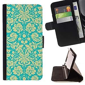 Jordan Colourful Shop - wallpaper vintage floral blossoms turquoise art For Apple Iphone 5C - < Leather Case Absorci????n cubierta de la caja de alto impacto > -