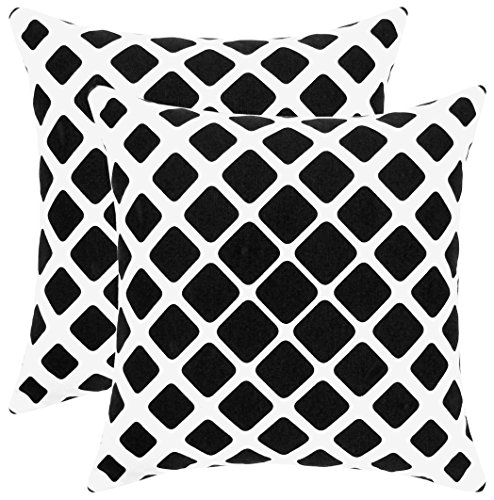 Isabella Beddings Throw Pillow Covers for Couch Sturdy Cotton Fabric Both Side Hand Printed Decorative Cushion Cover 18 x 18 Inches, Black, Toss Pillow - Geometric Design - Set of 2 Accent Home Decor