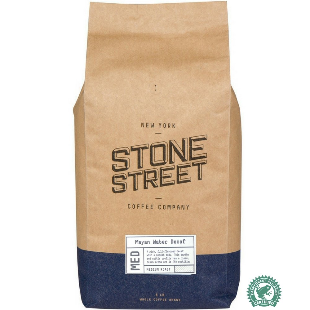 MAYAN DECAF SWISS WATER PROCESS Whole Bean Coffee | 5 LB Bulk Bag | Chemical Free Decaffeination | 100% Rain Forest Alliance RFA Certified | Central American Origin | Low Acidity | Medium Roast by Stone Street Coffee