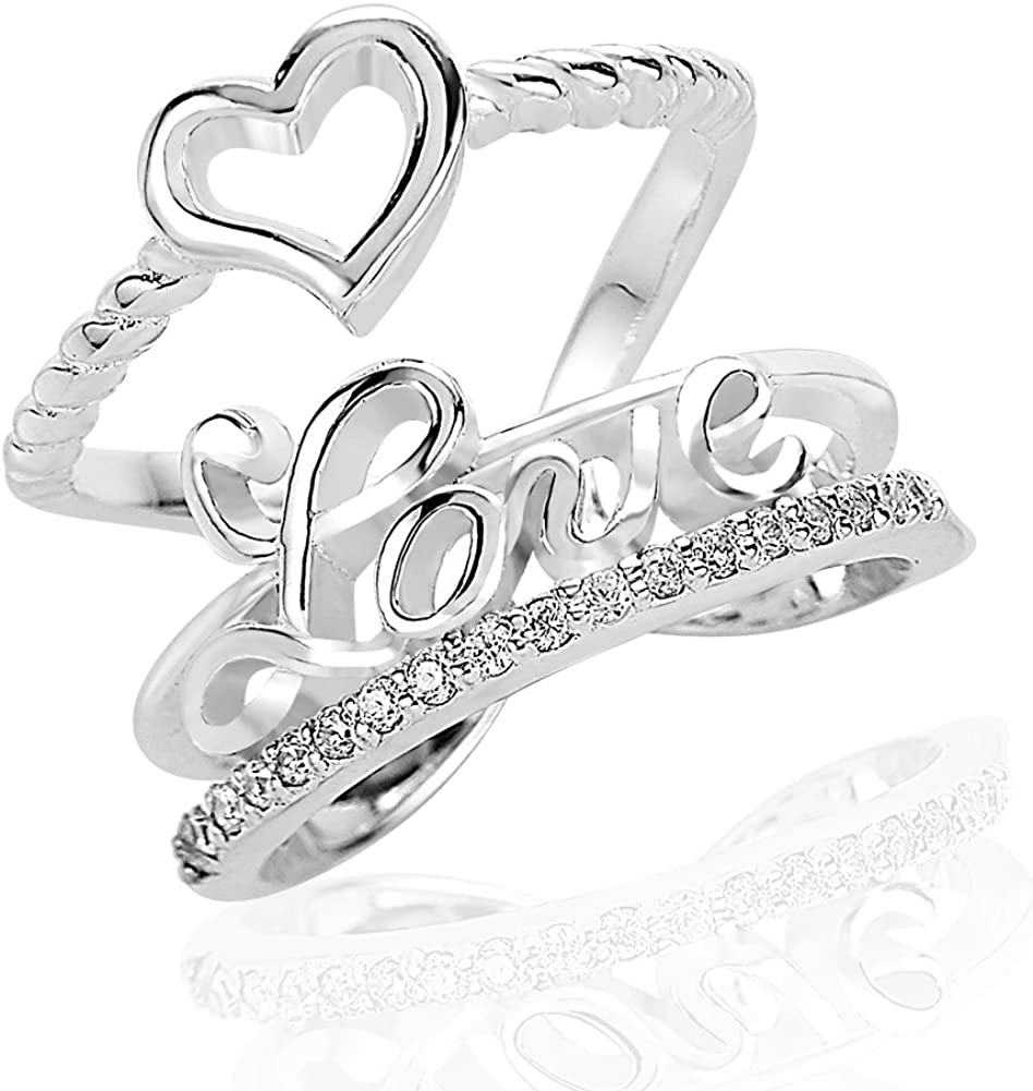 Women/'s .925 Sterling Silver Cubic Zirconia Love Heart Wide Band Fashion Ring