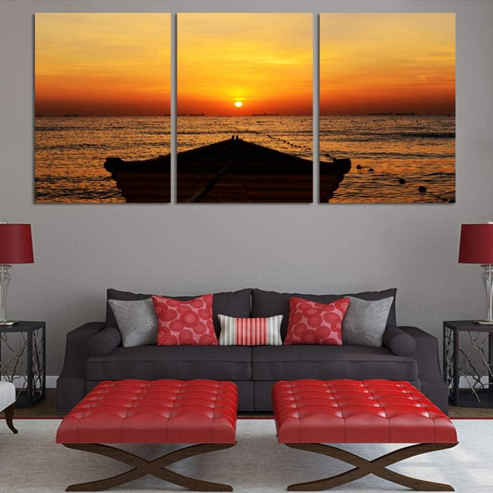 wekeke Leinwand Bilder Meerblick Mit Schiff Leinwand Druck Gem/älde F/ür Wohnzimmer Wandkunst Bild Dekoration Home-50X70Cmx3 Pcs Frameless