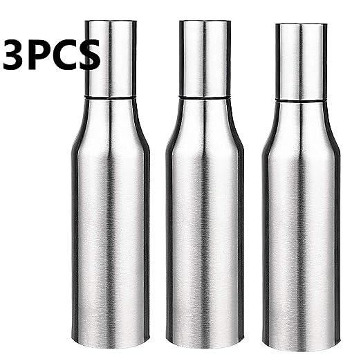 Aceitera Kompassswc, para la cocina, de acero inoxidable, resistente al polvo resistente, con boquilla, acero inoxidable, plata, 500 ml