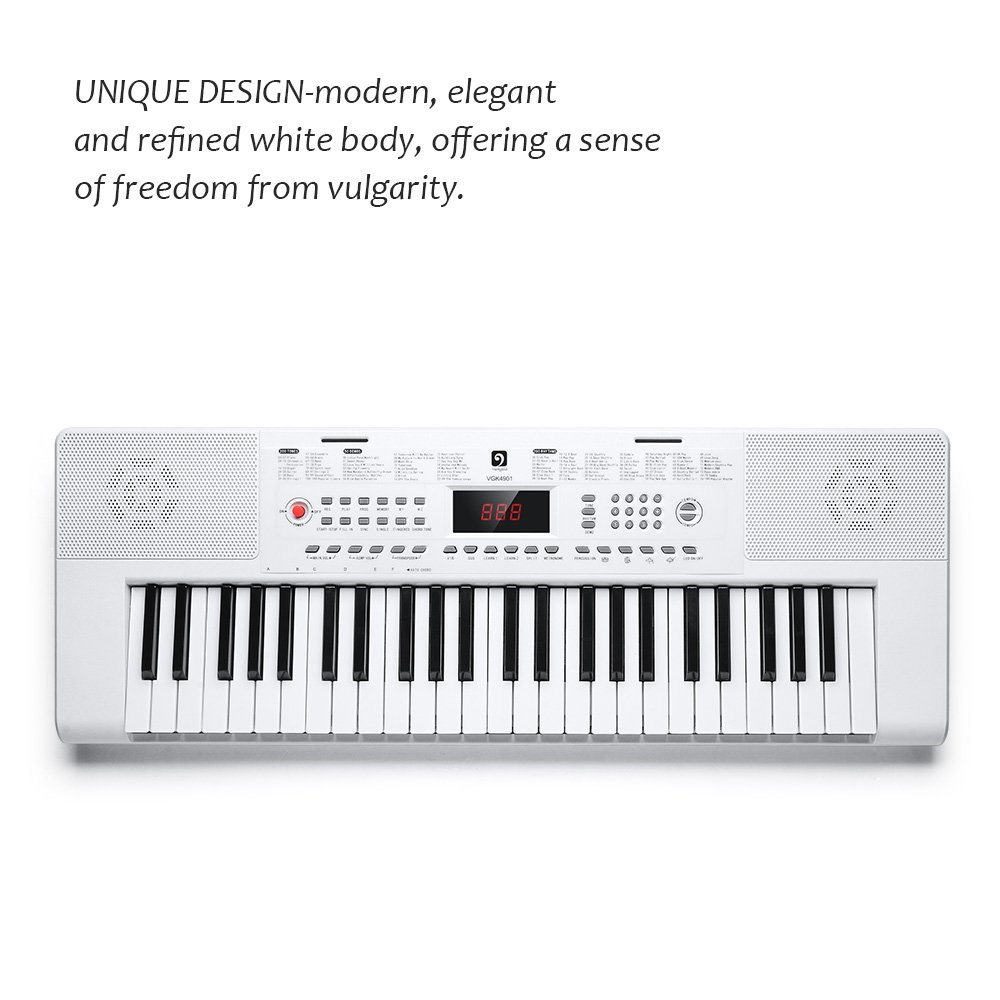 Electronic Keyboard Piano, 49-Lighted Key Electric Piano Keyboard with 3 Teaching Mode, Microphone, 200 Tones, 200 Rhythm, 50 Demo Songs, 5 Percussion, White by Vangoa (Image #4)