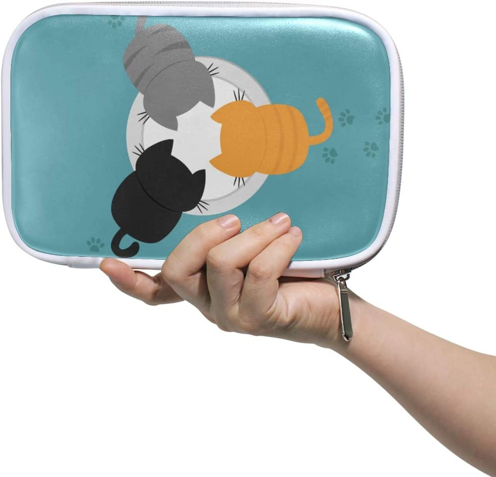 Lindo gatito Cat Milk Plate Bowl Múltiples Lápiz de cuero grande Bolsos de la bolsa Estuche de viaje Cosmético Pasaporte Billetera con cremallera