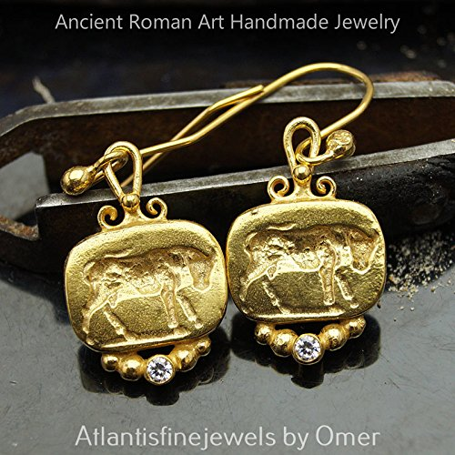 [Bull Coin Earrings 925k Silver Roman Art Jewelry BY Omer 24k Yellow Gold Vermeil Turkish Ancient Work] (Bulls 24k Gold Coin)