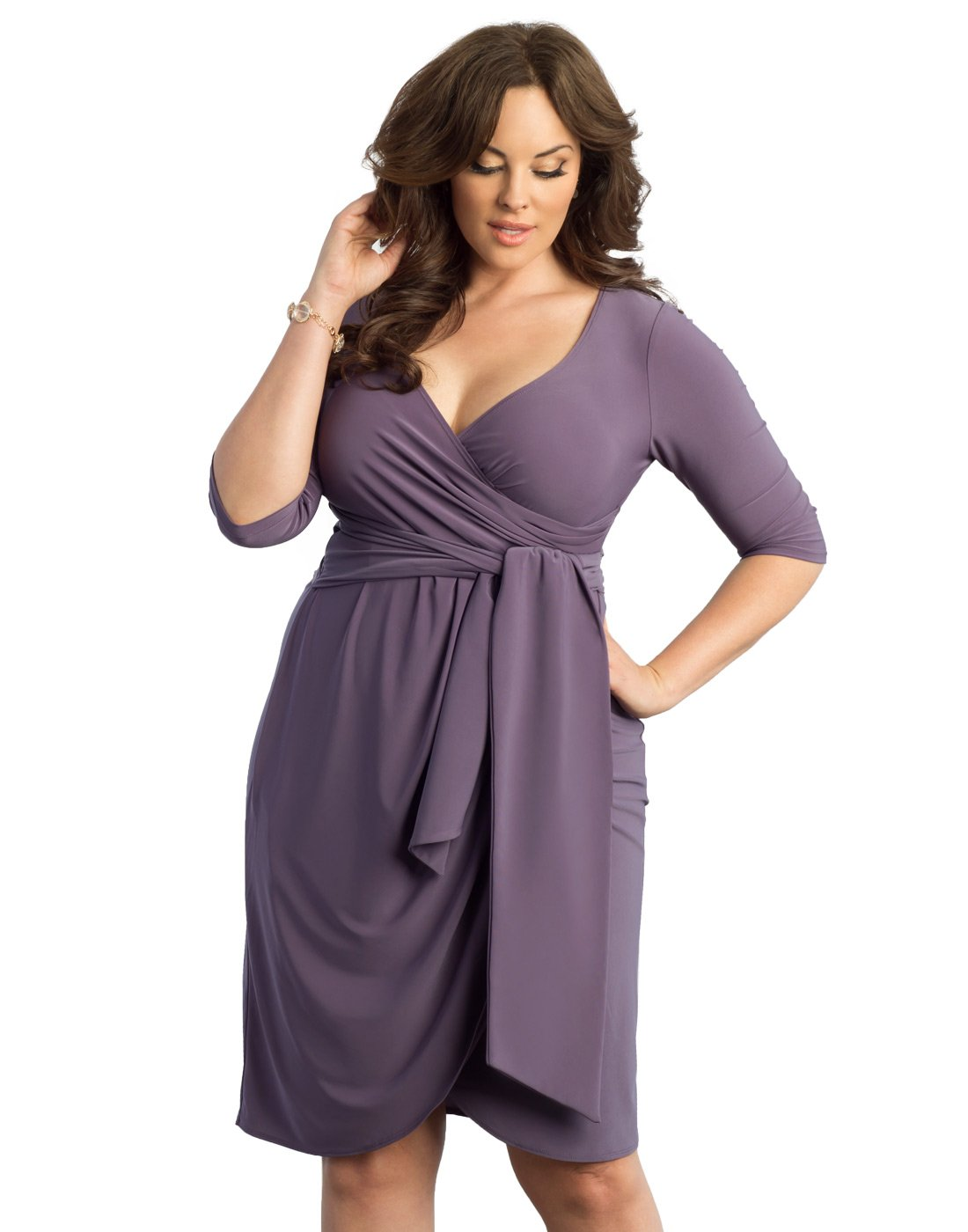 ebb78b331797 Kiyonna Women's Plus Size Harlow Faux Wrap Dress 2X Lavender Fields.  Home/Brands/Kiyonna Dresses/Kiyonna Women's Plus Size Harlow Faux Wrap ...