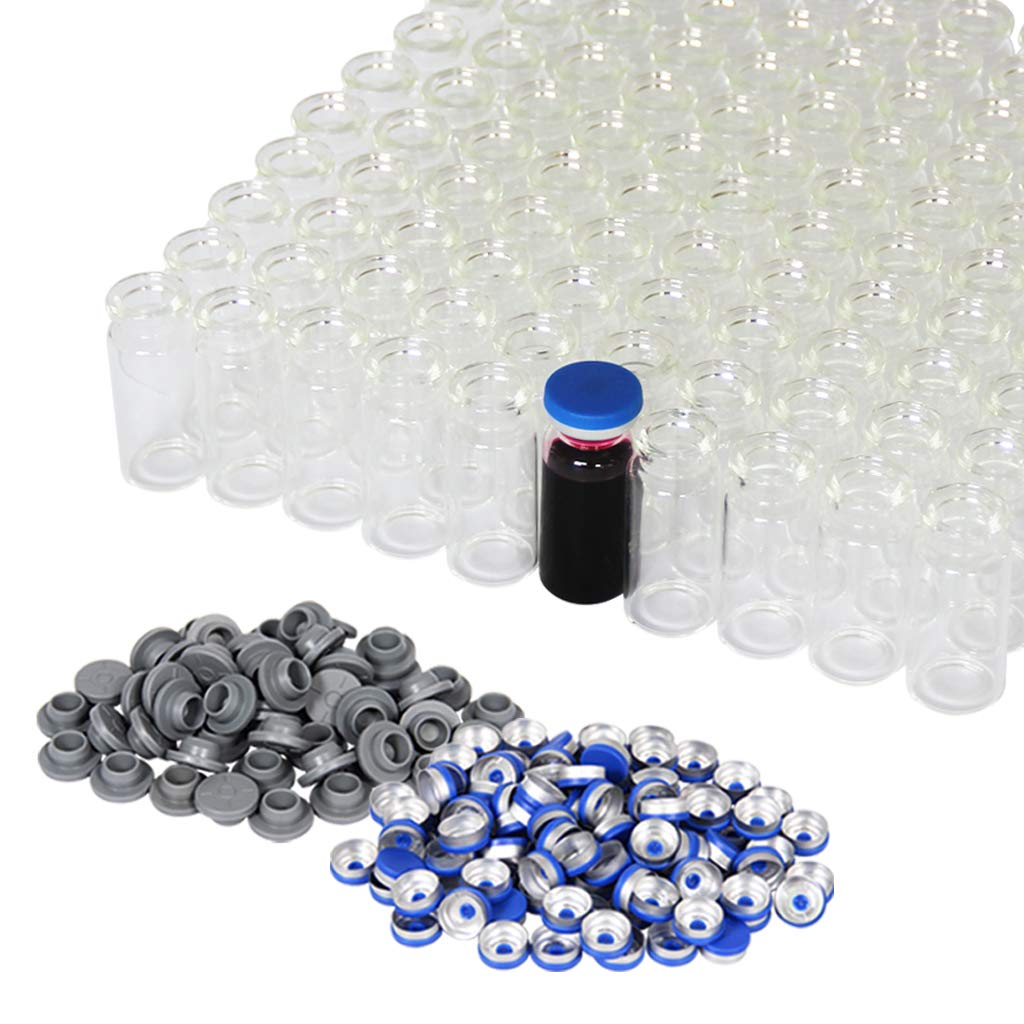10ml Vials-Transparent Glass Headspace Vials with Plastic-Aluminum Flip Off Caps and Rubber Stoppers, 100 Pack, 20mm Flat Bottom Lab Vial (Transparent) by Chudeng