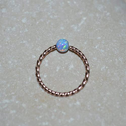 Amazon Com 3mm Opal Nose Ring Gold Nose Ring Hoop Conch