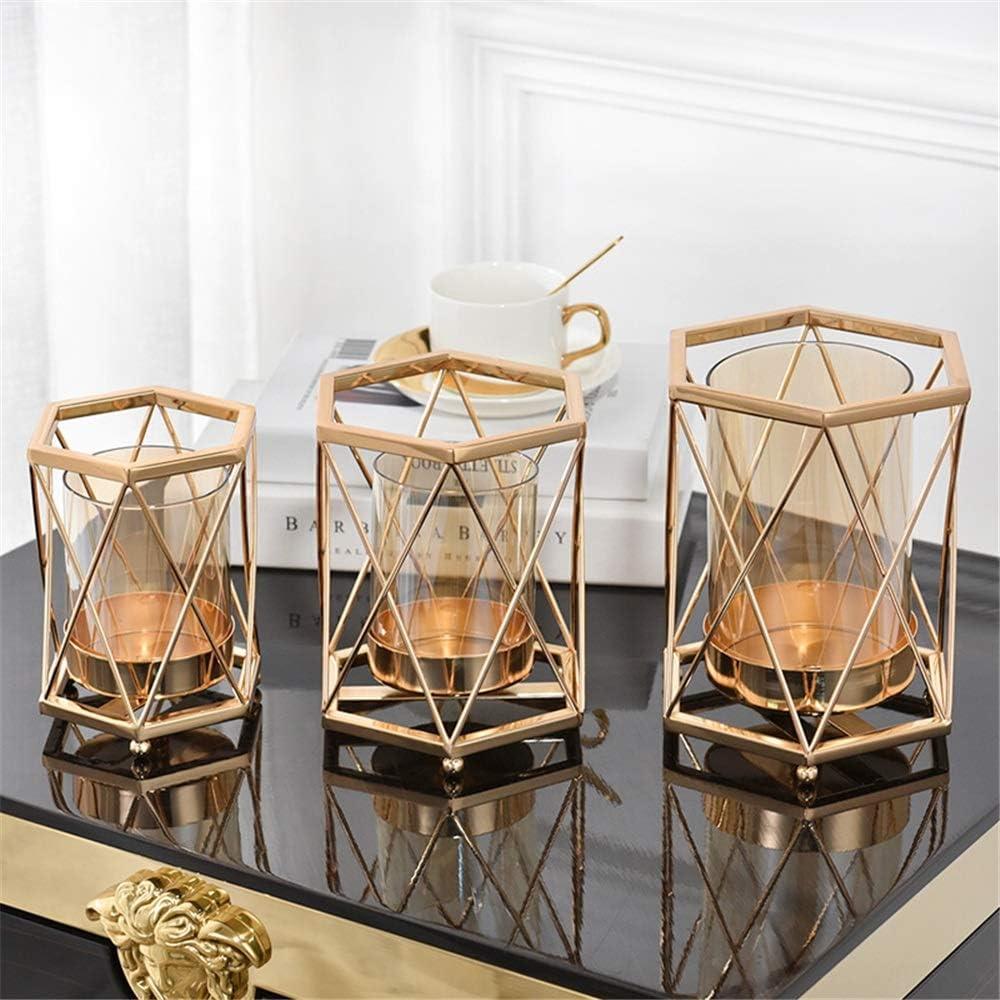 キャンドルホルダー シンプルでモダンな西洋表キャンドルキャンドルホルダーライトディナーの小道具ロマンチックライトクリエイティブの装飾オーナメント 装飾キャンドルホルダー (Color : Gold, Size : 9x15.5x18.5cm)