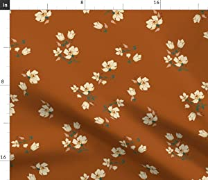 Spoonflower Fabric - Vintage Floral Retro Hippy Burnt Rust Color Summer Garden Flower Printed on Minky Fabric by The Yard - Sewing Baby Blankets Quilt Backing Plush Toys