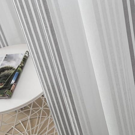 MIULEE Cortinas Delgado Rayas Translucida de Moderno Ventana Visillos Rayas Salon Paneles con Anillas para Sala Cuarto Comedor Salon Cocina Habitación 140 x 225 cm, 2 Unidades Delgado Gris+Blanco
