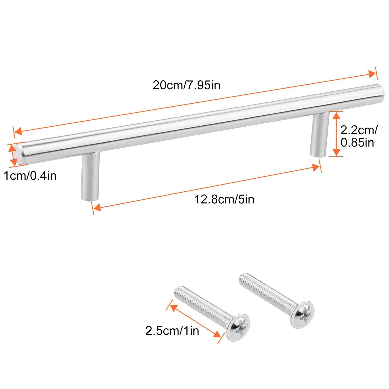 STARVAST 15Pcs Poign/ée B/âton de Porte en T en Acier Inoxydable 200 mm avec 25mm Vis,Poign/ée de Meuble pour Tiroirs Portes de Placards