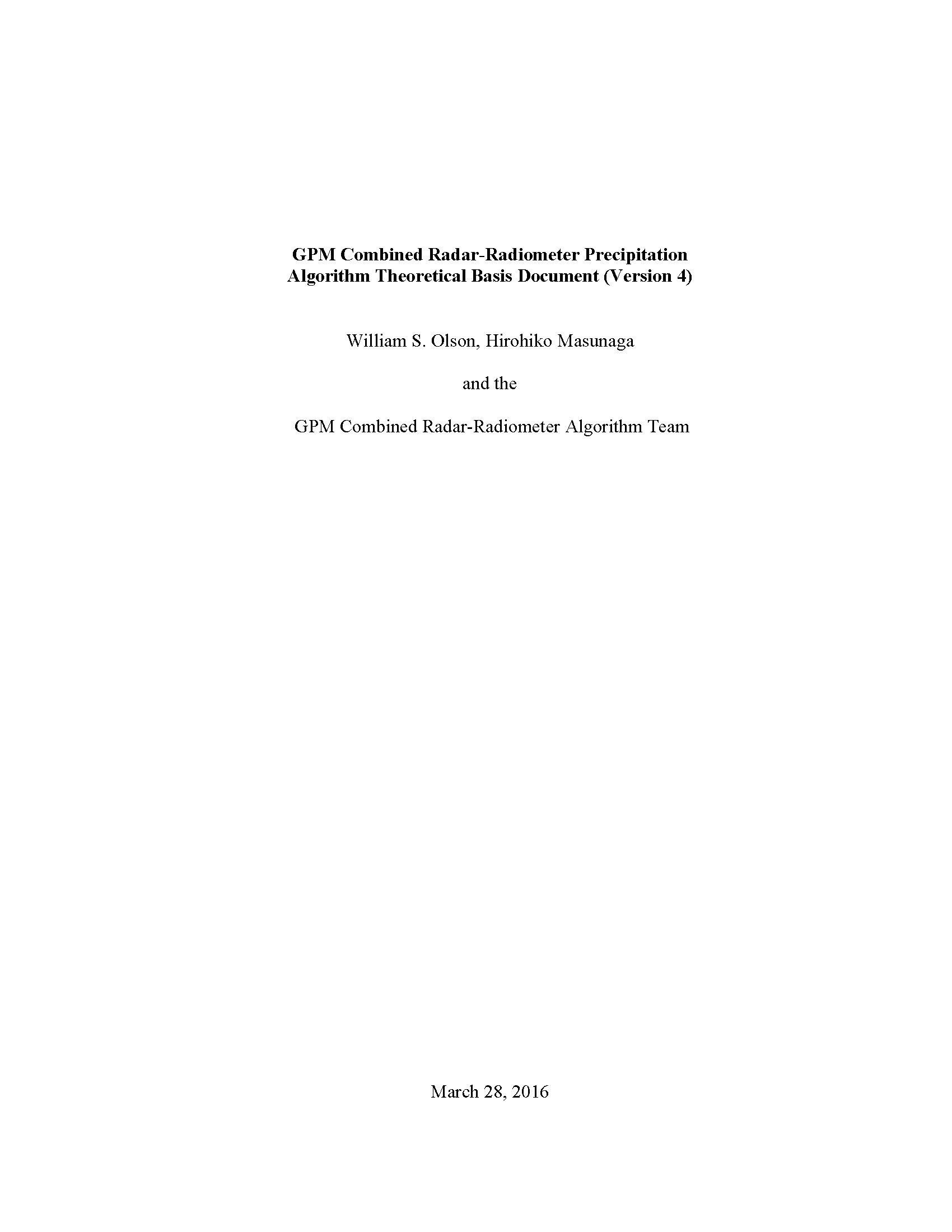 Download GPM Combined Radar-Radiometer Precipitation Algorithm Theoretical Basis Document (Version 4) [Loose Leaf] PDF