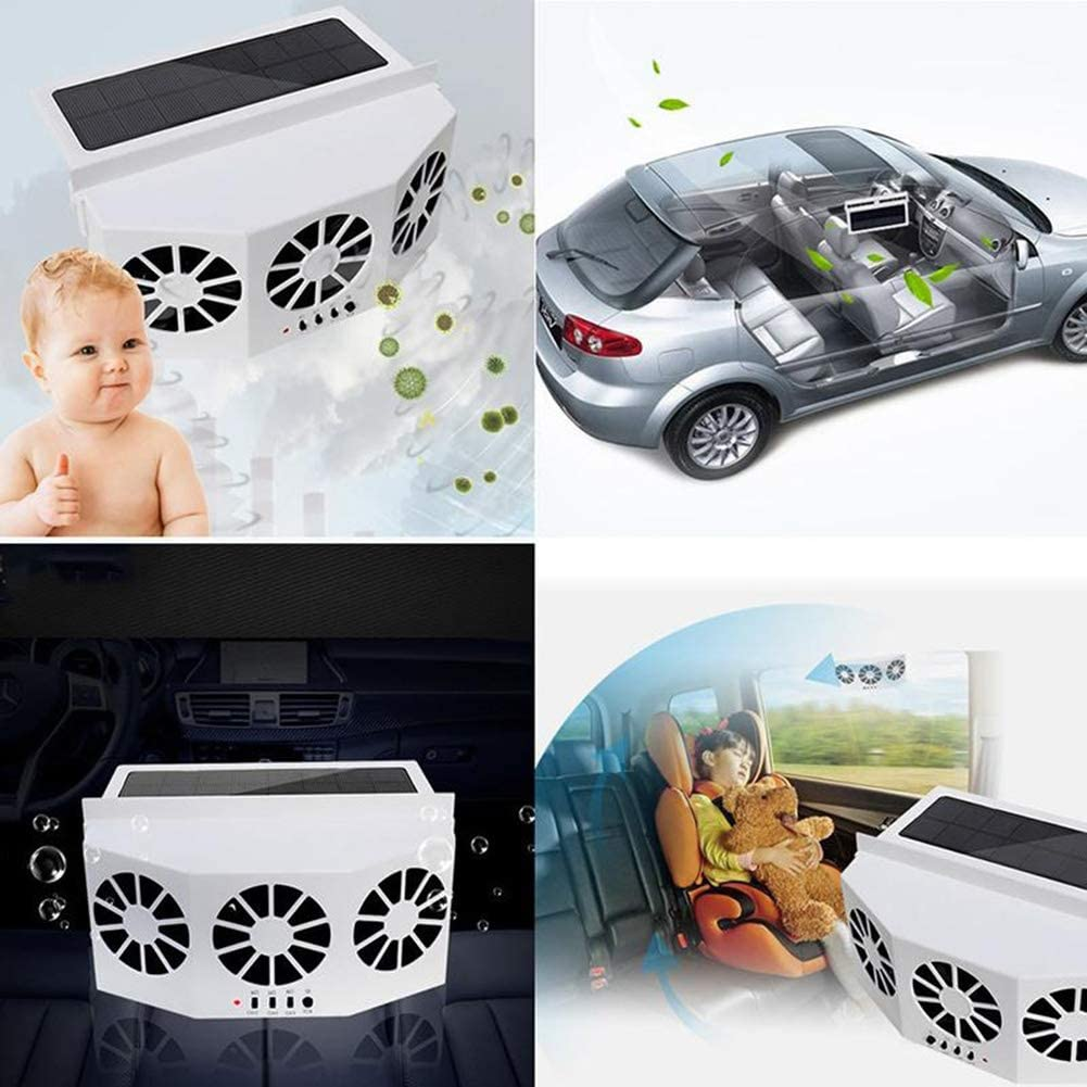 Tonquu Solar Powered Car Ventilator Car Radiator,Eliminate The Peculiar Smell Inside The Car and Can Be Used for General Types of Cars Solar Powered Car Exhaust Fan White