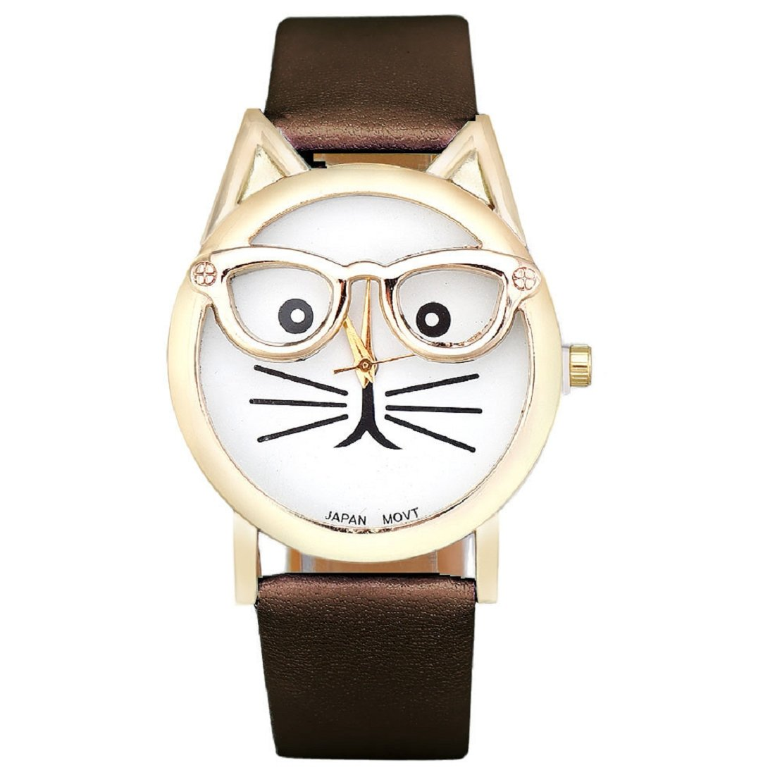 Amazon.com: Lookatool® Cute Glasses Cat Women Analog Quartz Dial Wrist Watch (Blue): Health & Personal Care