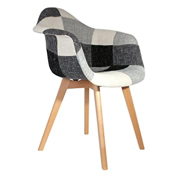 The Home Deco Factory Fauteuil Scandinave Patchwork Polyester Gris