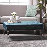 Cheap Christopher Knight Home 301091 Living Colonial Tufted Cushion New Velvet Ottoman (Teal)