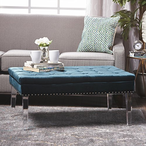 Christopher Knight Home 301091 Living Colonial Tufted Cushion New Velvet Ottoman (Teal)