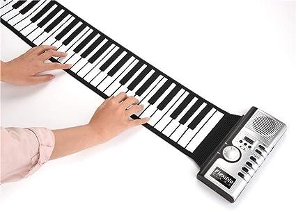 JJIIEE Piano Enrollable portátil de 61 Teclas, 128 Tonos ...