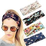 Headbands Best Deals - 4 Pack Women Headband Boho Floal Style Criss Cross Head Wrap Hair Band Set1