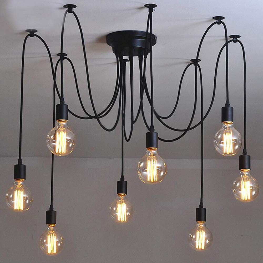Industrial Vintage Edison Spider Light-LITFAD 8 Lights Multiple Ajustable DIY Ceiling Light Pendant Light Rustic Chandelier Modern Chic Hanging Light Dining Hall Bedroom Hotel Decoration