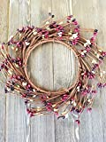 Mulberry Mini Wreath Or Candle Ring Country Primitive Floral Décor Perfect Candle Ring For 4'' Pillars (Wreath is 8'')