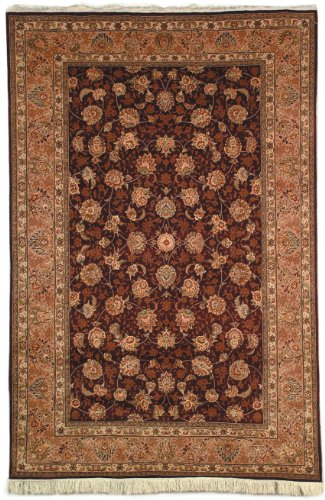 Safavieh Tabriz Floral Collection TF101C Hand-Knotted Burgundy and Camel Silk & Wool Area Rug, 12 feet by 15 feet (12' x ()