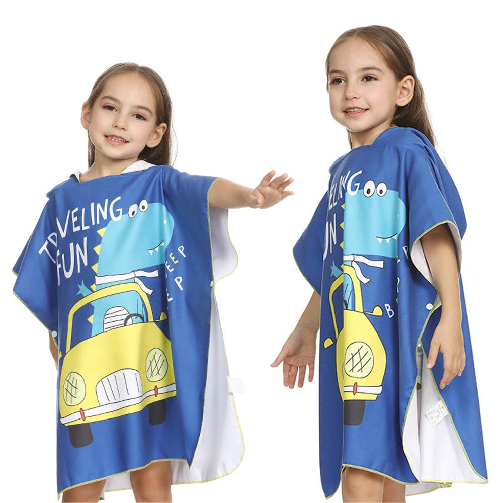BWAM-tak Kids Hooded Ponchos Kids Changing Bath Towel Dinosaur Printing Beach Towel Poncho Hooded for Surfing,Swimming,Diving, Wetsuit Changing Swimming Bath Towel (Size : L(120-150cm))