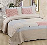 Vesna Paisley Reversible Coverlet 3-Piece Patchwork Quilt Set with Shams Soft Cotton Luxury Bedspread&Comforter Queen Size Summer Blanket 1 Quilt 2 Pillow Shams Boy Girl Gift