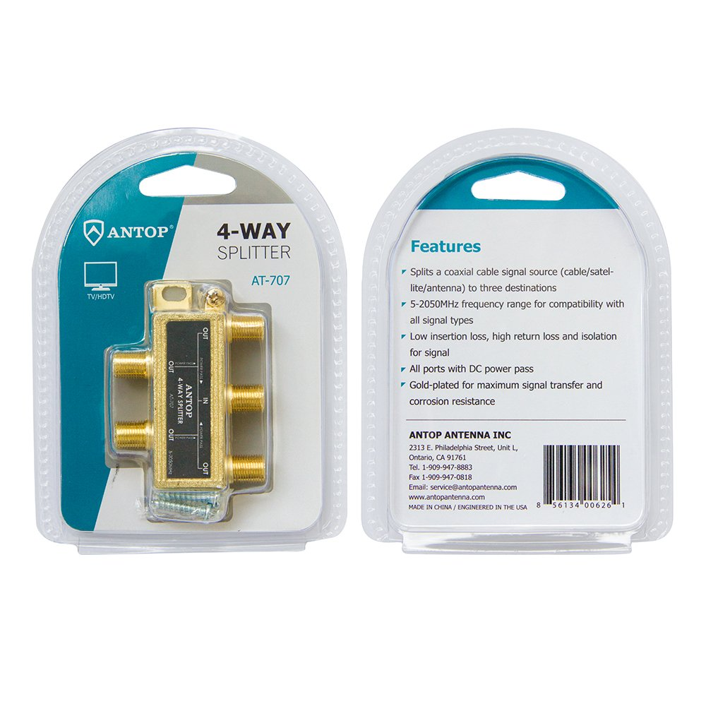 Amazon.com: Antop 4-Way Coaxial Cable Gold Plated Splitter for Satellite TV Antenna Signals, Low-loss, All Port DC Power Passing: Electronics