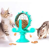 YANTIN Cat Treat Dispenser Toy, Rotatable Cat Slow Feeder Interactive Puzzle Wheel Treadmill Cat Toys for Cats Small Dog…