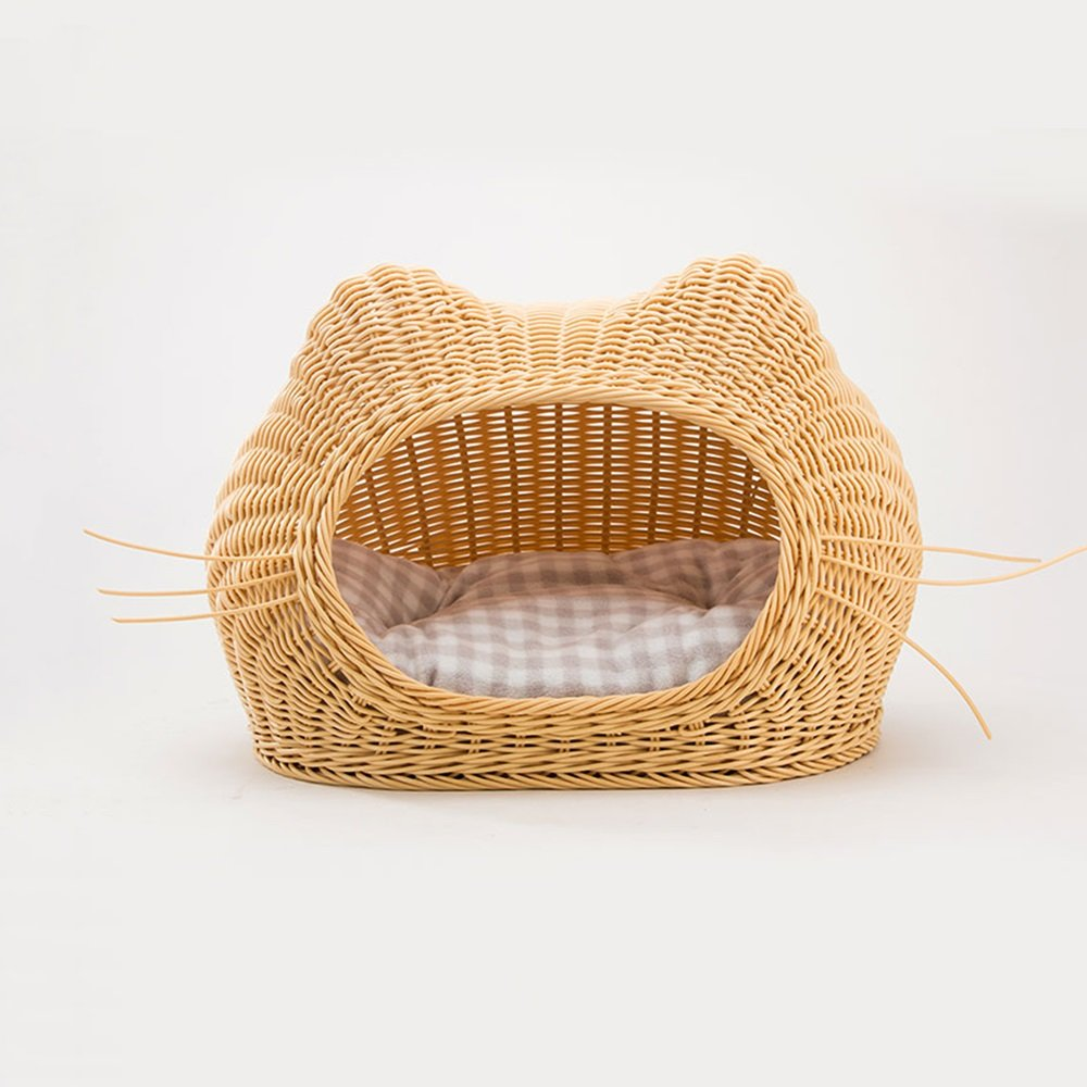 Beige 3525cmYQQ Cat Supplies Cat Nest Woven Rattan Closed Cat House in Summer Pet House Kennel Cat Bed Mat Sleeping Bag Four Seasons Universal Doghouse (color   Beige, Size   35  25cm)