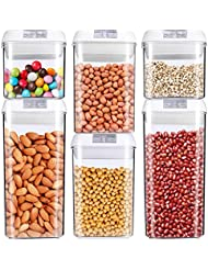 Food Storage Container, MCIRCO Air-Tight Cereal & Dry Food Storage Set- 6 Piece Set with Free 20 Pcs Chalkboard Labels - Food Grade Durable Plastic BPA Free - Keep Food Dry & Fresh with Easy Lock